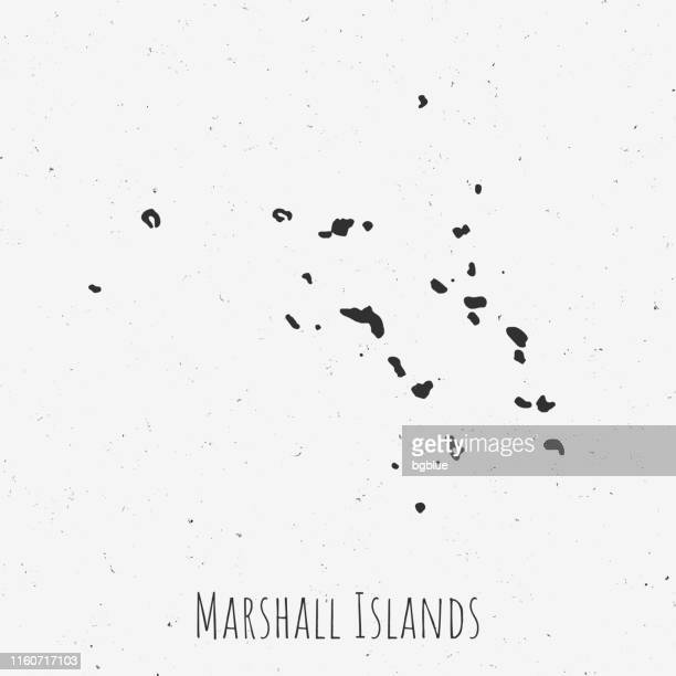 vintage marshall islands map with retro style, on dusty white background - marshall islands stock illustrations, clip art, cartoons, & icons