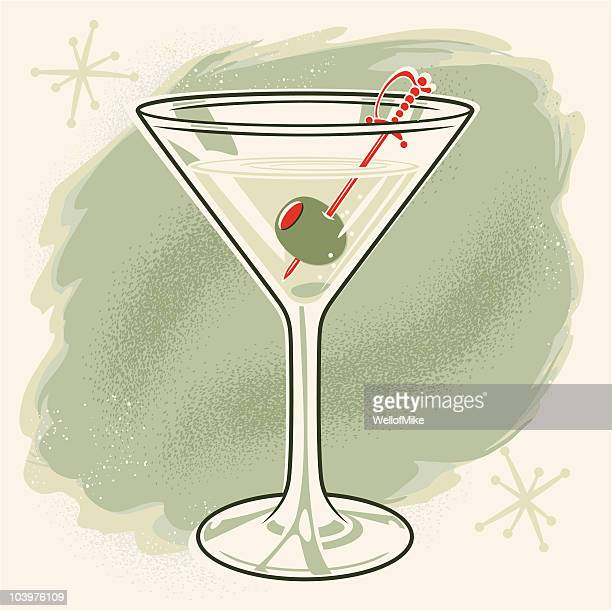 vintage martini with olive - martini stock illustrations
