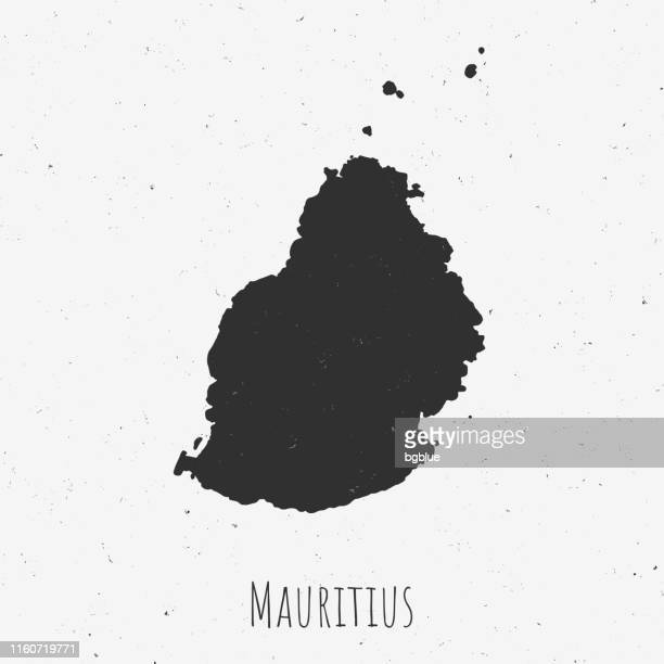Vintage Mauritius map with retro style, on dusty white background