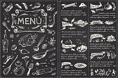 Vintage menu main page design. Hand drawn food sketches isolated on black chalk board for restaurant or cafe decoration. Vector banner