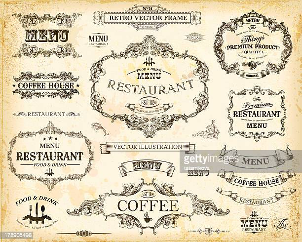 vintage menu - 19th century style stock illustrations
