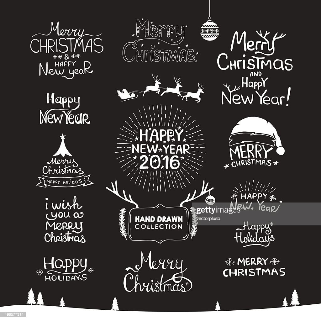 Vintage Merry Christmas And Happy New Year Calligraphic Hand drawing