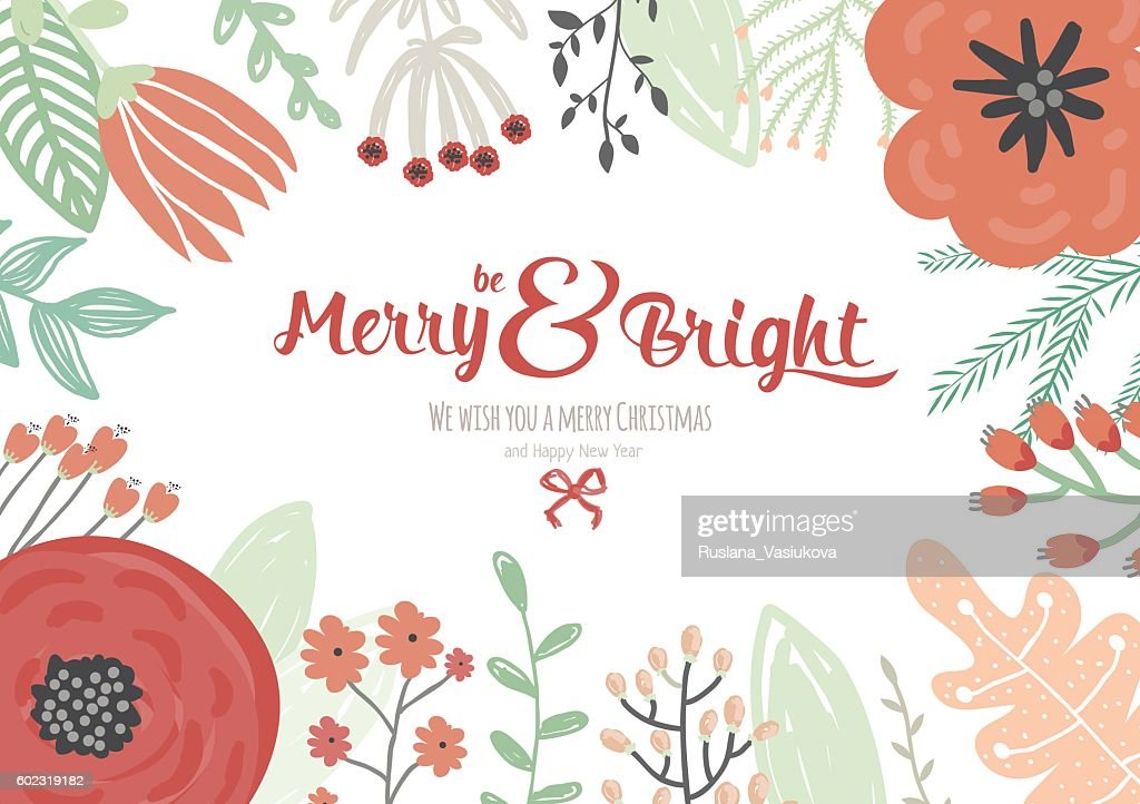 Vintage Merry Christmas And Happy New Year Card Vector Art | Getty ...