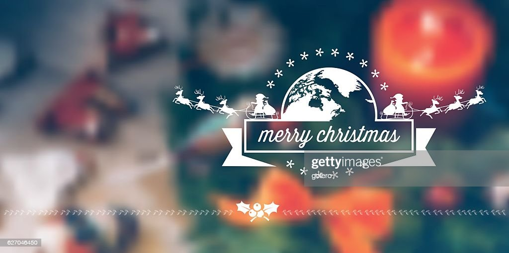 vintage merry christmas label on blurred christmas background
