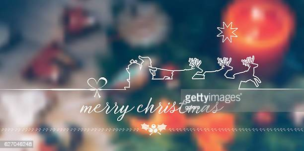 vintage merry christmas line symbol on  blurred christmas background