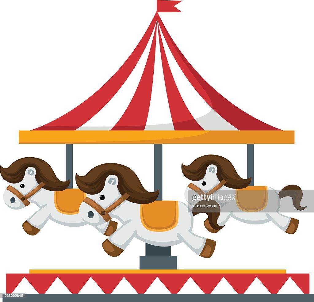 Vintage merry-go-round carousel vector