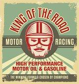 Vintage metal sign. Retro garage poster.