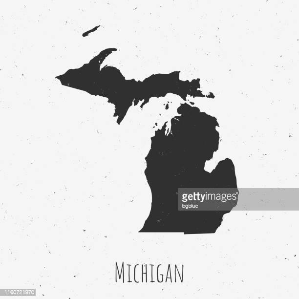 vintage michigan map with retro style, on dusty white background - detroit michigan map stock illustrations