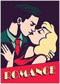 Vintage mid-century lovers couple kissing romance valentine's day vector illustration