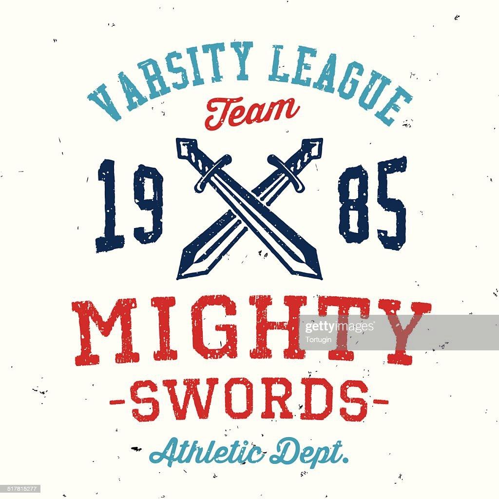 Vintage mighty swords varsity apparel design