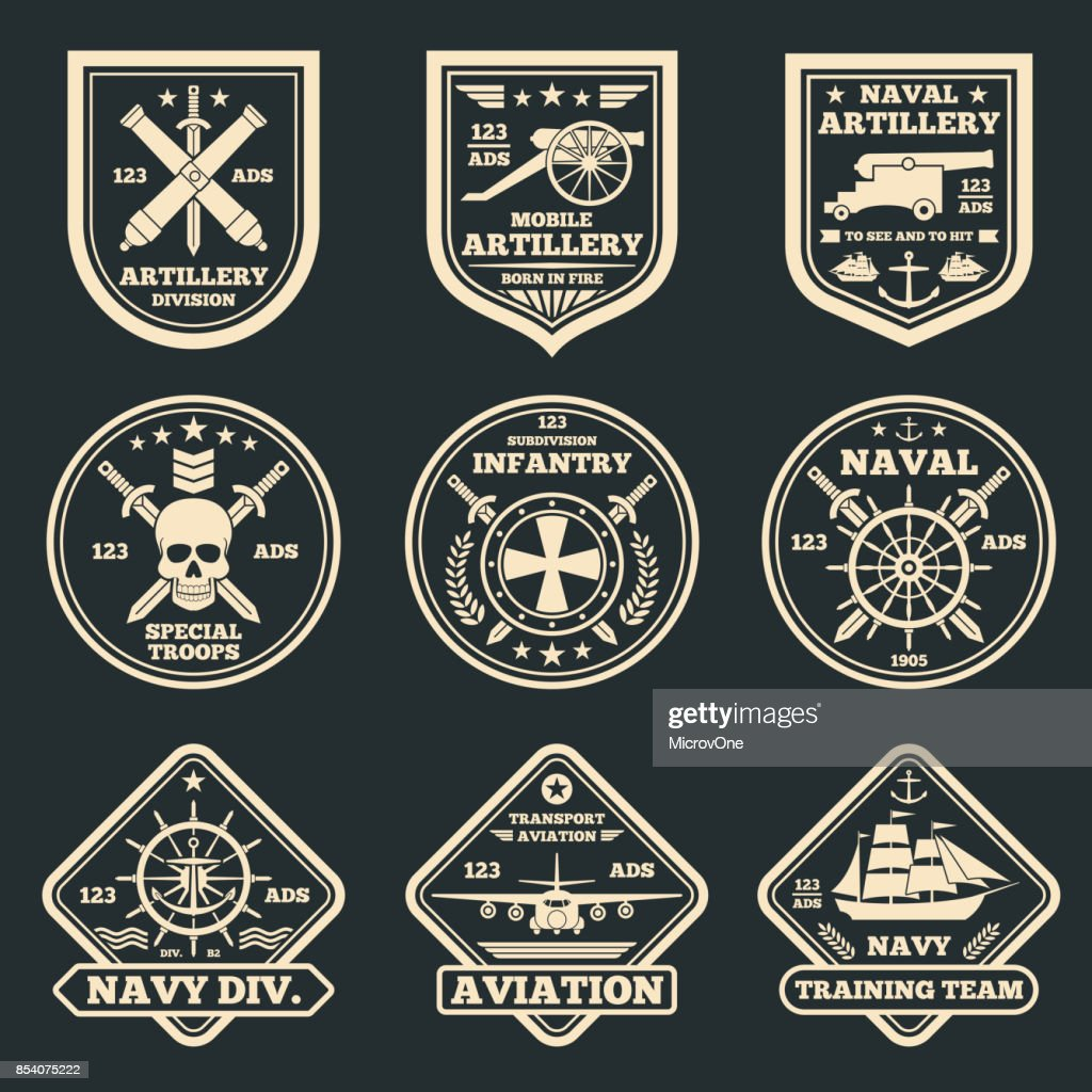 Vintage military and army vector emblems, badges and labels