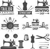 Vintage monochrome pictures and labels for tailor shop. Logos for textile production