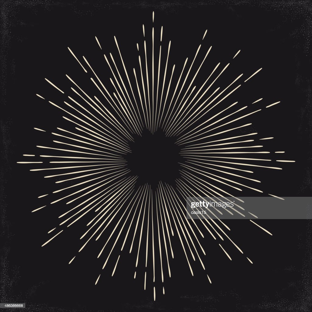 Vintage monochrome sun, sunburst, starburst. Vector illustration