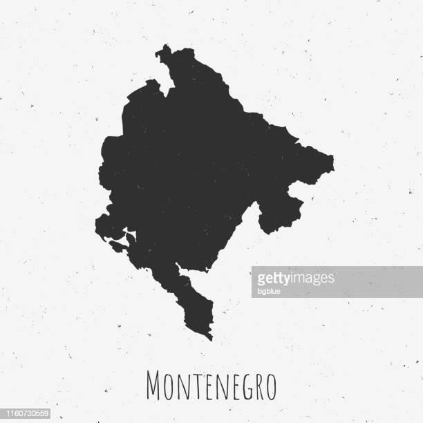 vintage montenegro karte mit retro-stil, auf staubigen weißen hintergrund - montenegro stock-grafiken, -clipart, -cartoons und -symbole