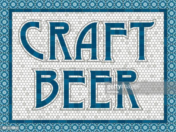 vintage mosaic tile craft beer message - artisanal food and drink stock illustrations, clip art, cartoons, & icons