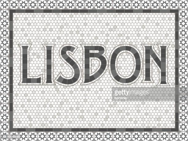 vintage mosaik fliesen lissabon typografie design - portugal stock-grafiken, -clipart, -cartoons und -symbole