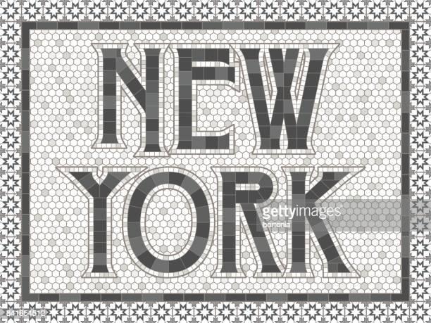 vintage mosaik fliese new york typografie design - 19. jahrhundert stock-grafiken, -clipart, -cartoons und -symbole