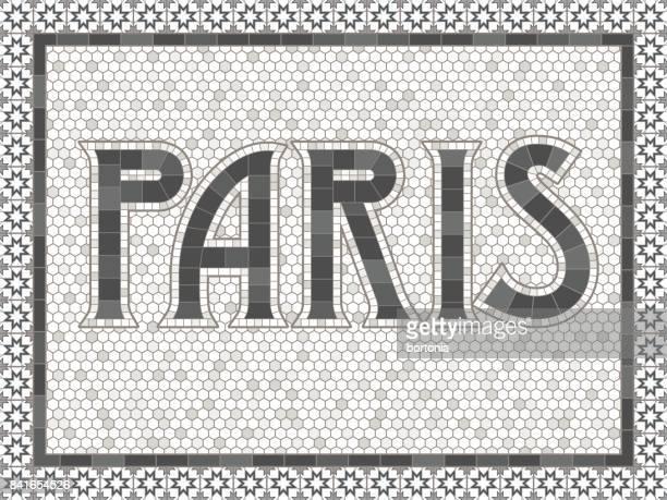 Vintage Mosaic Tile Paris Typography Design