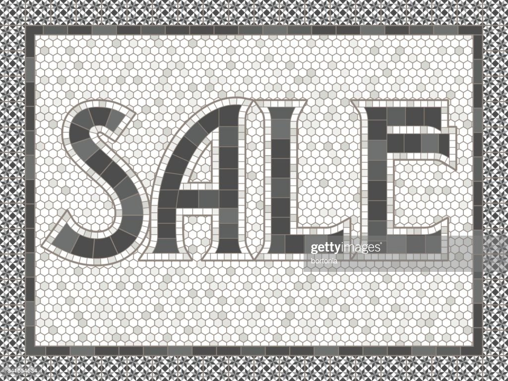 Vintage Mosaic Tile Sale Typography Design Vector Art | Getty Images