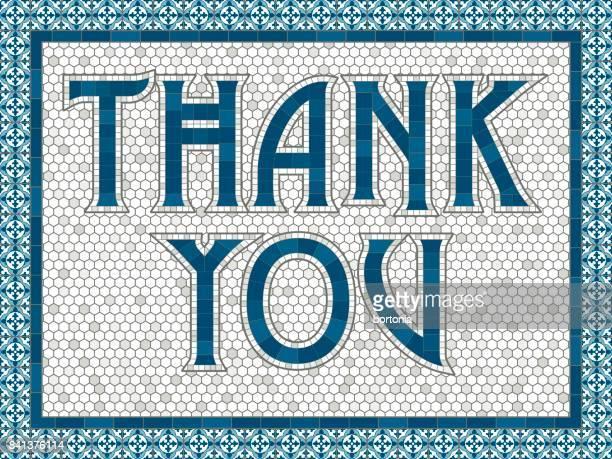 Vintage Mosaik Fliesen Dankesnachricht