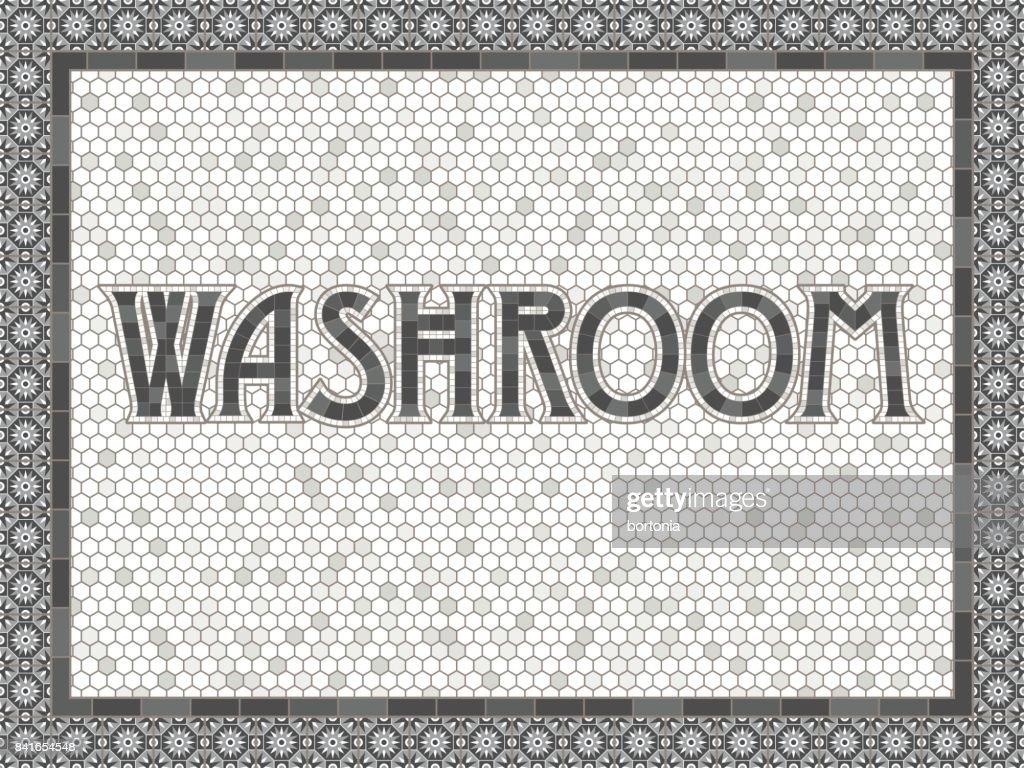 Design de tipografia vintage da telha Washroom : Ilustração