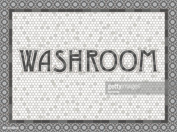 vintage mosaic tile washroom typography design - bathroom stock illustrations, clip art, cartoons, & icons