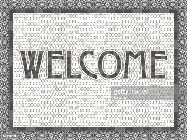 Vintage Mosaic Tile Welcome Typography Design