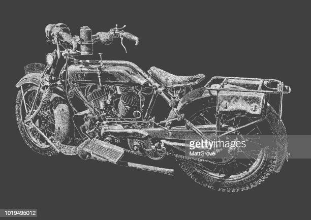 vintage motorbike - motorcycle rider stock illustrations, clip art, cartoons, & icons