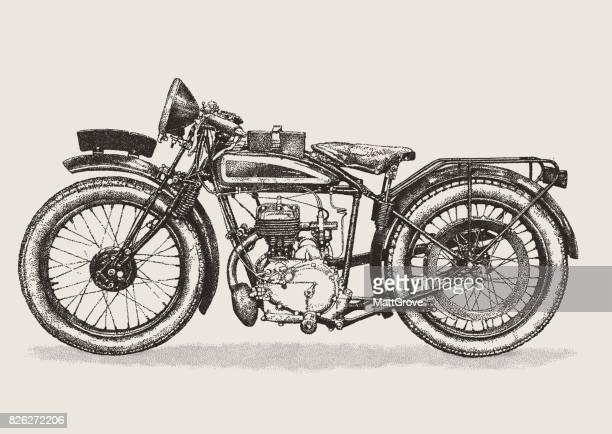 vintage motorbike - vintage motorcycle stock illustrations