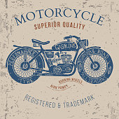 vintage motorcycle design for tee shirt graphic print Vector
