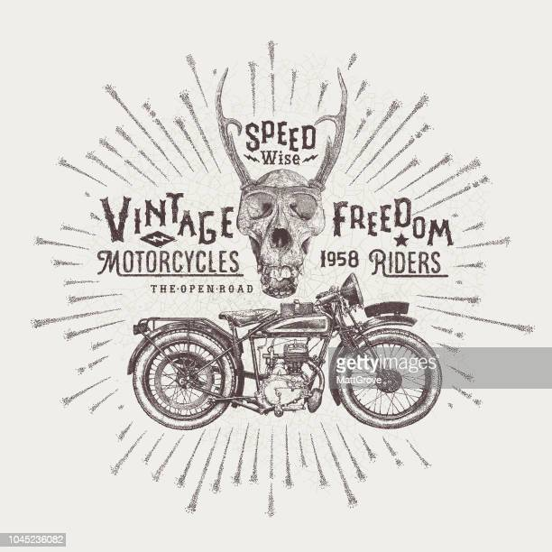 vintage motorcycle poster - vintage motorcycle stock illustrations