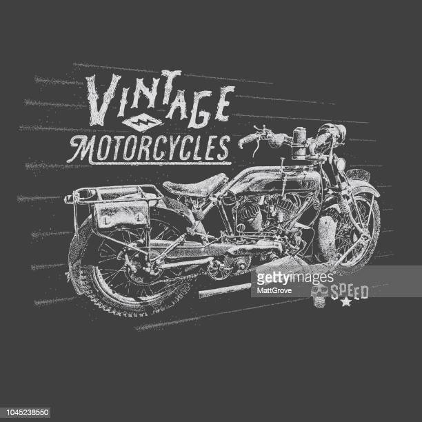 vintage motorcycle poster - motorcycle rider stock illustrations, clip art, cartoons, & icons