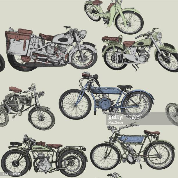 vintage motorcycle seamless repeat pattern - vintage motorcycle stock illustrations