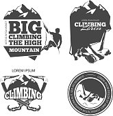 Vintage mountain climbing vector logo and labels set