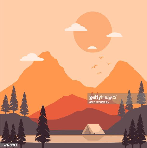 vintage mountainous - extreme terrain stock illustrations
