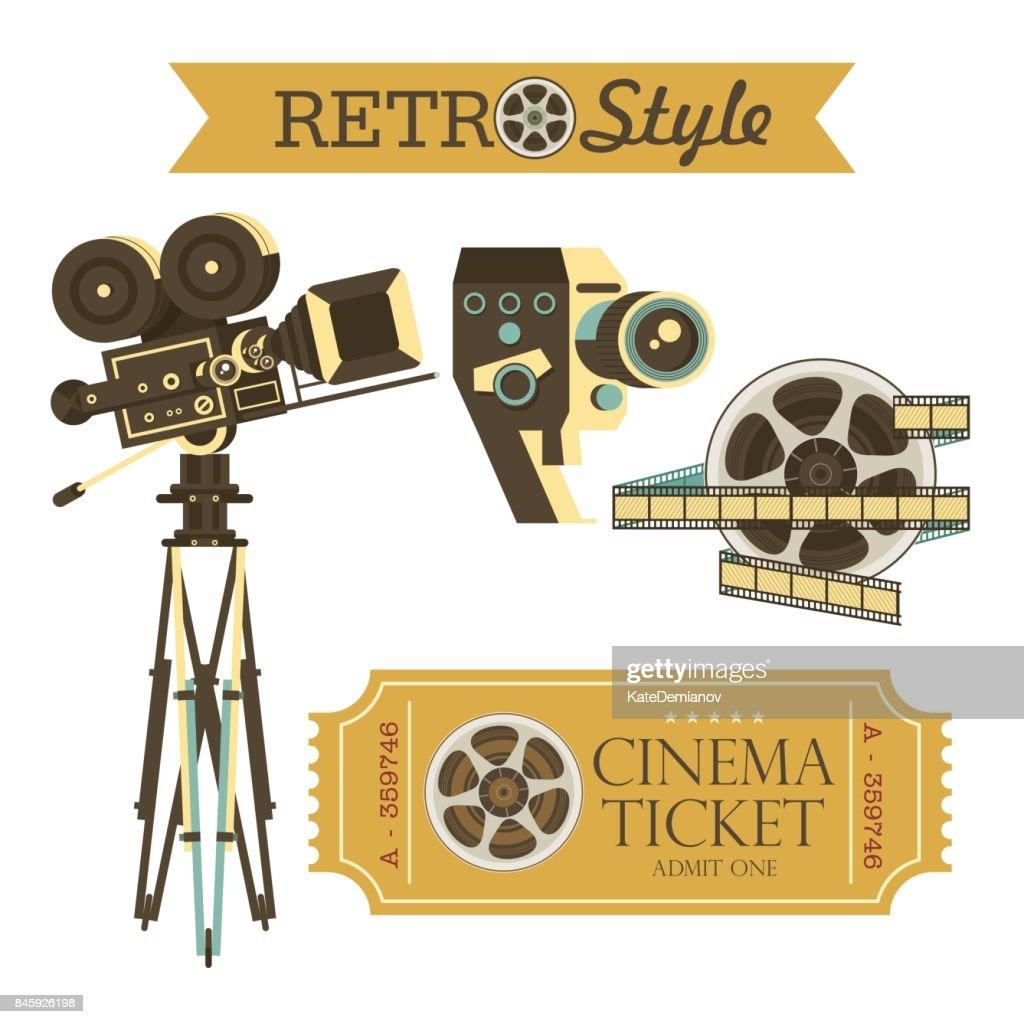 Vintage movie cameras, cinema tickets, film. Set of vector vintage design elements. Isolated on white background.