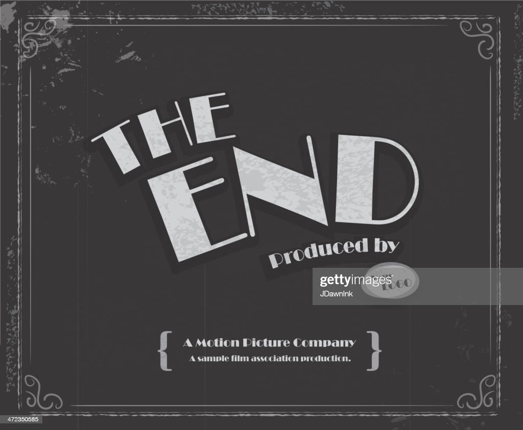 Vintage Movie The End Screen Design Template Vector Art ...