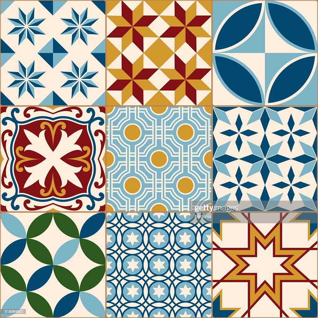 Vintage Multicolored Mosaic Porcelain Tiles Seamless Pattern Vector ...