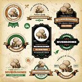 Vintage Mushroom Labels