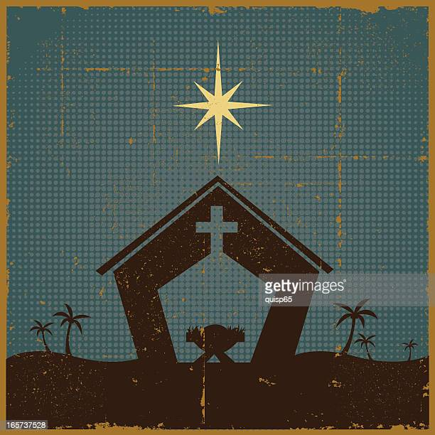 vintage nativity scene - nativity scene stock illustrations, clip art, cartoons, & icons