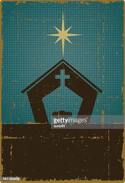 ilustraciones, imágenes clip art, dibujos animados e iconos de stock de nativity vintage con espacio de copia - nacimiento de navidad