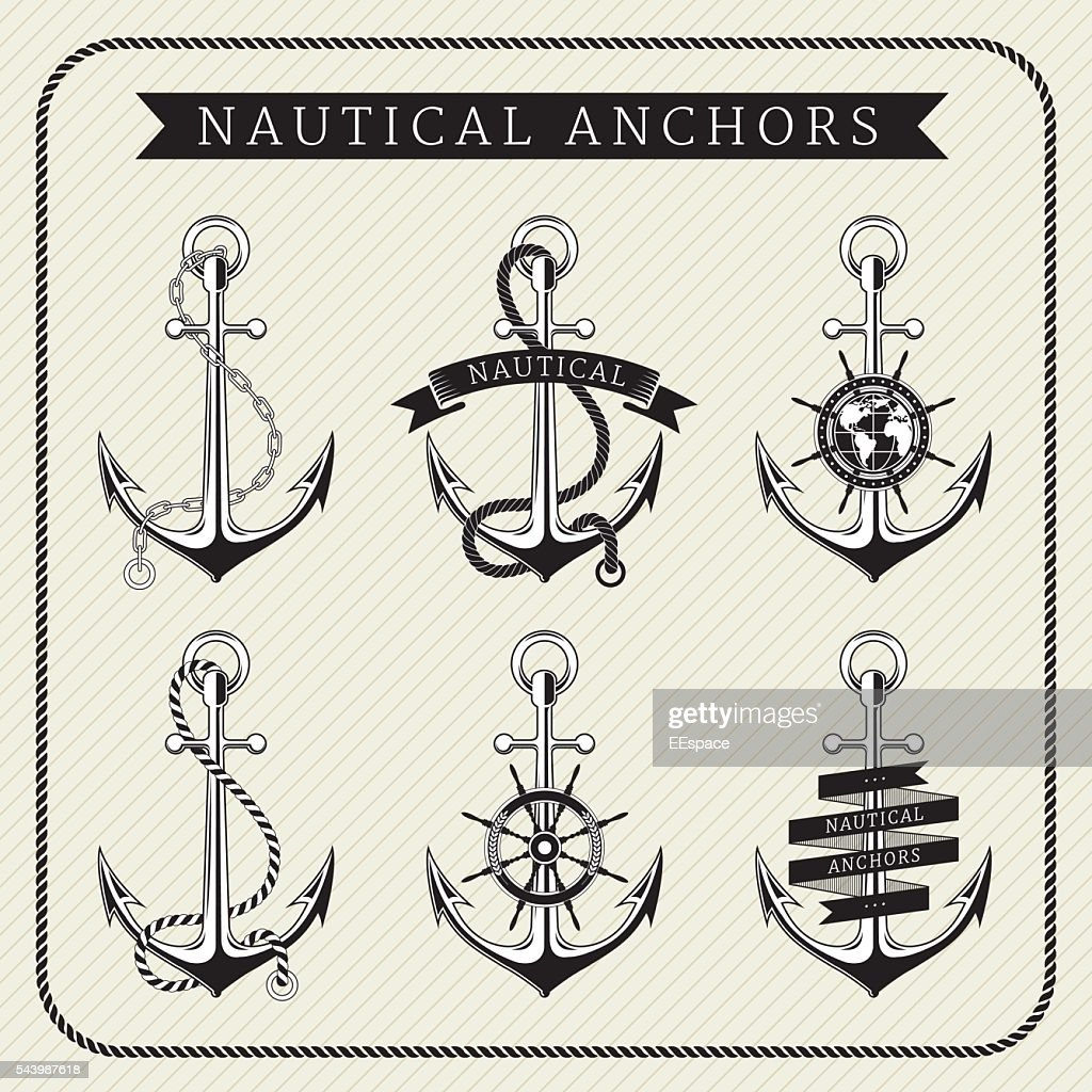 Vintage nautical anchors set label