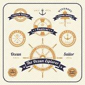Vintage nautical labels set on light background