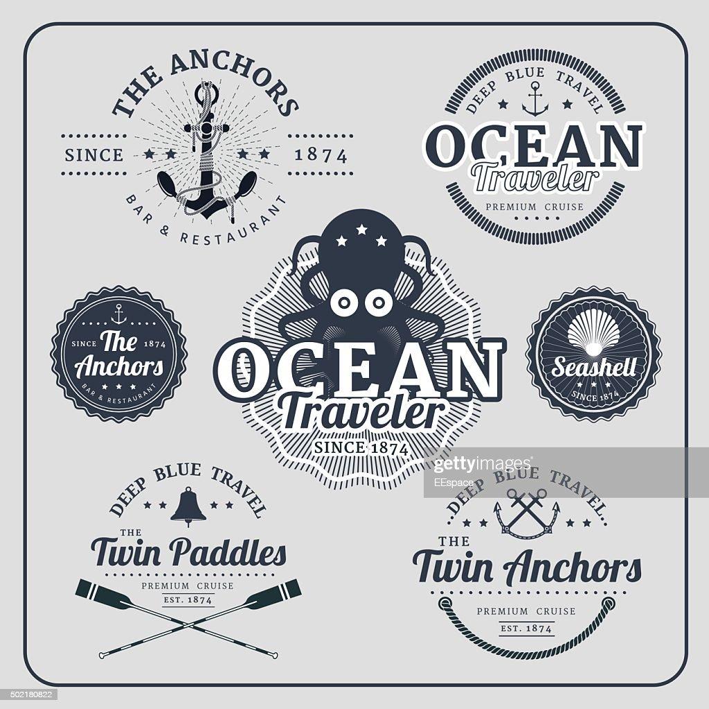 Vintage nautical labels vector set