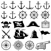 Vintage nautical, marine, navy, pirate vector icons
