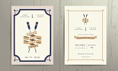 Vintage nautical twin paddles ribbon wedding invitation card template