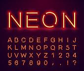 Vintage, neon font.