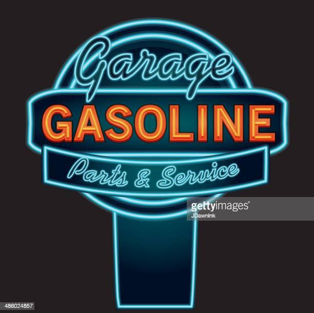 Vintage neon Benzin und garage -