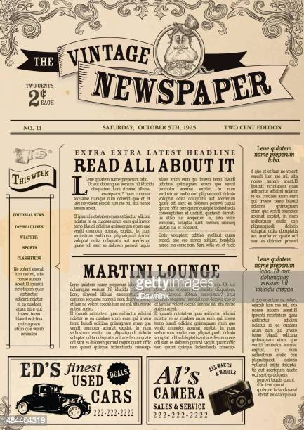 vintage newspaper layout design template - front page stock illustrations