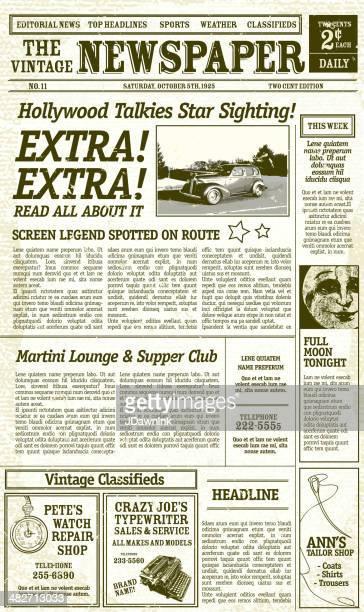 ilustrações, clipart, desenhos animados e ícones de vintage jornal layout design com elementos de modelos antigos - jornal